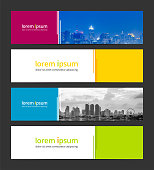 Banner design template abstract background geometric vector. Corporate business banner advertising set. Infographic design elements.