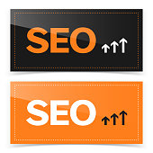 Banner design with SEO icon. Vector illustration