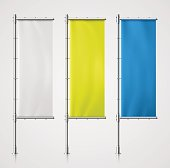 Set banner flag. Illustration contains transparency and blending effects, eps 10
