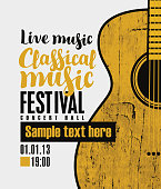 Vector banner for a festival live music with the inscription Classical music and a wooden guitar in retro style