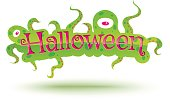 Vector banner for Halloween with green monsters. Halloween monsters with text.
