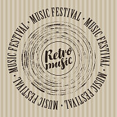 Vector banner with vinyl record, calligraphic inscription Retro music and the words Music festival, written around on striped background
