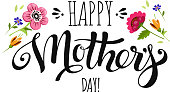 Elegant banner Happy Mothers Day with wildflowers. Happy Mothers Day lettering, vector floral illustration. Holiday card with inscription