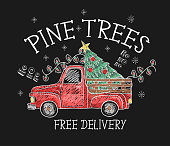 Banner of  Christmas sale with red pickup and tree painted colored chalk on blackboard.