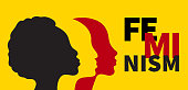Banner of feminism. Profile of three women of different races on yellow background. Female international movement. Vector illustration