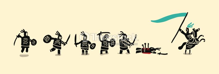 Banner Of Medieval Soldiers Fighting stock vector - Thinkstock
