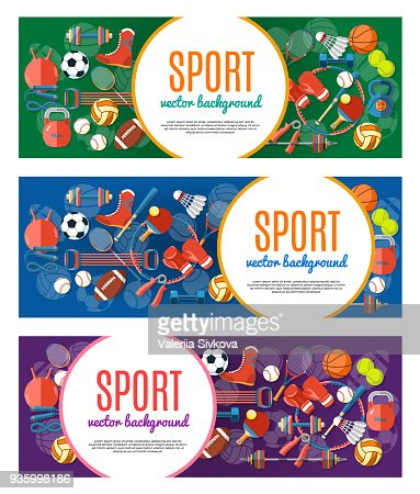 Banner of sport balls and gaming equipment. Poster with text Sport for banner, sticker, web. Healthy lifestyle tools, elements. Vector Illustration. : stock vector