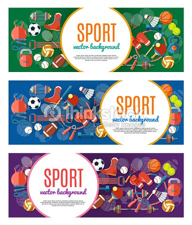 スポーツ ボールやゲーム機器のバナーです。バナー、ステッカー、web 用テキスト スポーツ ポスター。健康的なライフ スタイル ツール、要素。ベクトルの図。 : ベクトルアート