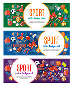Banner of sport balls and gaming equipment. Poster with text Sport for banner, sticker, web. Healthy lifestyle tools, elements. Vector Illustration