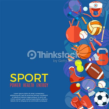 f748846ba Banner of sport balls and gaming equipment. Poster with text Sport for  banner