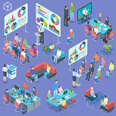 Isometric banner on theme group coaching in training courses. Business conference. People listen to the lecturer. Highly detailed illustration