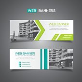 Banner or horizontal header / footer with abstract linear design elements