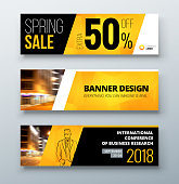 Banner template design. Presentation concept. Black Yellow Corporate business banner template background. Horizontal template banner stand or flag design layout. For conference, forum, shop, web site.