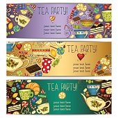 Tea, coffee and sweets doodle template pattern invitation. Greeting card. Tea Branding Design. Breakfast Banners with cups, teapot, chocolate, lemon, cake, croissant and sweets.