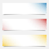 Set of templates for web banners with dots on background.