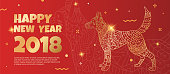 Banner template with a gold dog on a red background. The dog is a symbol of 2018.