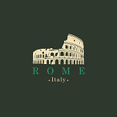 Travel vector banner or logo. Ancient amphitheater Colosseum in Rome, Italy. The monument of architecture of Ancient Rome, the Italian national landmark