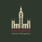 Vector travel banner. The Big Ben in London, Palace of Westminster, United Kingdom. UK landmark