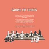 Banner with chess pieces on a chessboard. A poster representing a chess competition or section. Poster with place for text invitation to play chess.