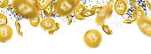 Banner with falling gold bitcoins and network pattern. Vector money illustration.