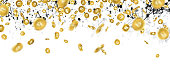 Banner with falling gold bitcoins and social network. Vector money illustration.