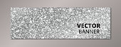Banner with silver glitter background. Sparkling diamonds, vector dust. Great for Christmas and New Year, birthday and wedding party invitations, club flyers, website headers.