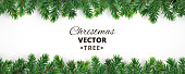 Banner with vector christmas tree branches and space for text. Realistic fir-tree border, frame isolated on white. Great for christmas cards, banners, flyers, party posters, headers.