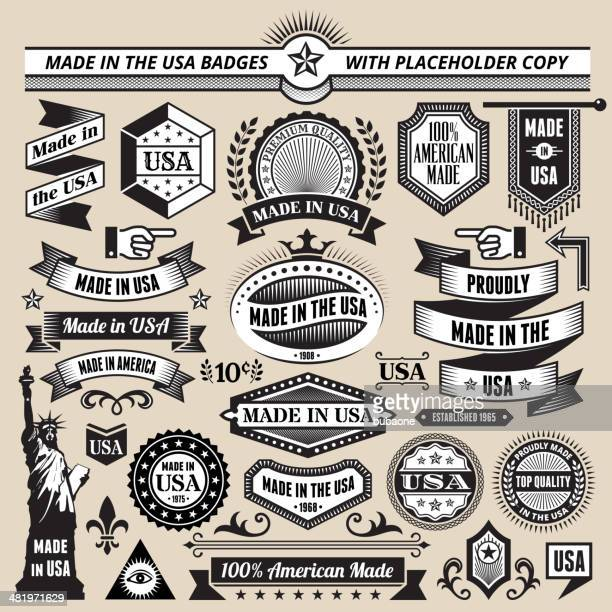 Banners, badges and symbols with Made in the USA