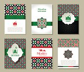 Banners set of islamic. Uae color design.