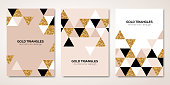 Banners set with gold geometric patterns. Vector illustration. Flyer design layout templates for wedding cards, business brochure design, certificates. Golden triangles decor