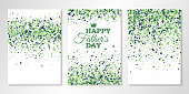 Banners set with green confetti on white. Vector flyer design templates for Fathers Day invitation cards, brochure design, certificates. All layered and isolated