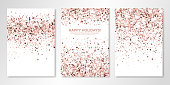 Banners set with nude confetti on white. Vector flyer design templates for wedding, invitation cards, save the date, business brochure design, certificates. All layered and isolated