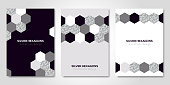 Banners set with silver geometric patterns. Vector illustration. Flyer design layout templates for wedding cards, business brochure design, certificates. Silver hexagons decor