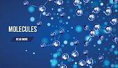 Abstract molecules design. 3d atomic structure molecule model grid over blue background. Banners with blue molecules design. Atoms. Medical background for banner or flyer.