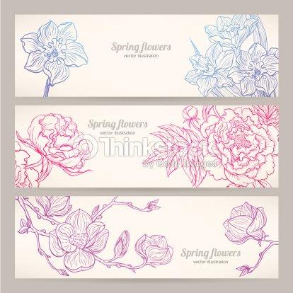 Banner con fiori disegnati a mano arte vettoriale thinkstock for Fiori disegnati
