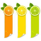 banners with orange, lemon and lime on a white background