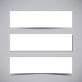 Vector set of three Banners with transparent vector shadows. Vector template, mock up