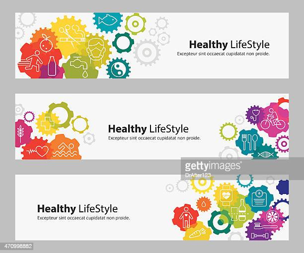 Banners With Vibrant Gears And Healthy Lifestyle Icons