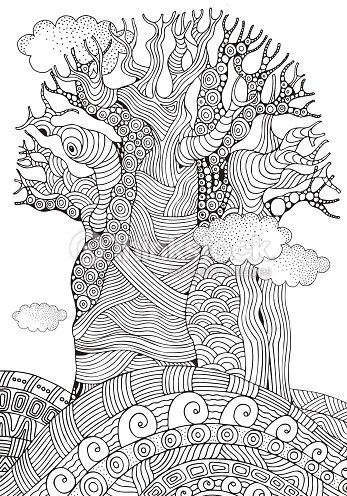 African Tree Coloring Book Page A4 Size