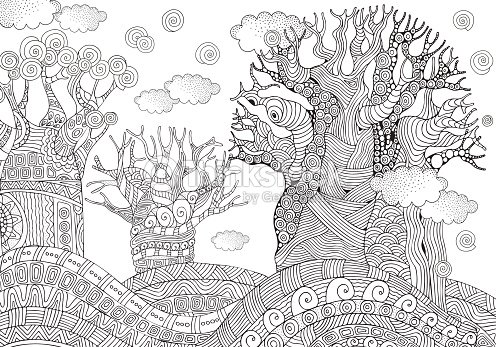 Baobab Tree African Tree Coloring Book Page A4 Size Vector Art ...
