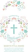 Baptism, Christening, First Holy Communion Invitation Template - Invite Card with Cross and Colorful Abstract Floral Wreath Border. Customizable with white background - for baby boy or girl