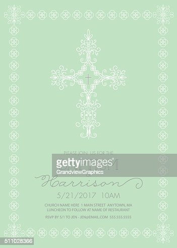 Baptism Christening Or First Communion Invitation Template Vector