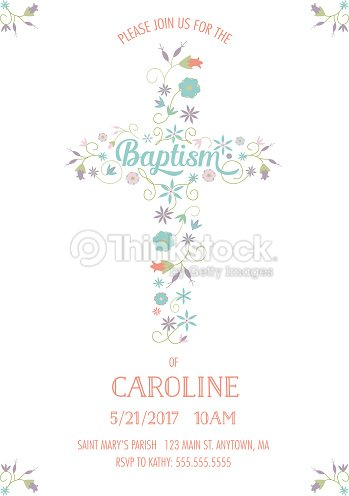 Baptism christening religious occasion invite invitation template baptism christening religious occasion invite invitation template cross flowers vector stopboris Image collections