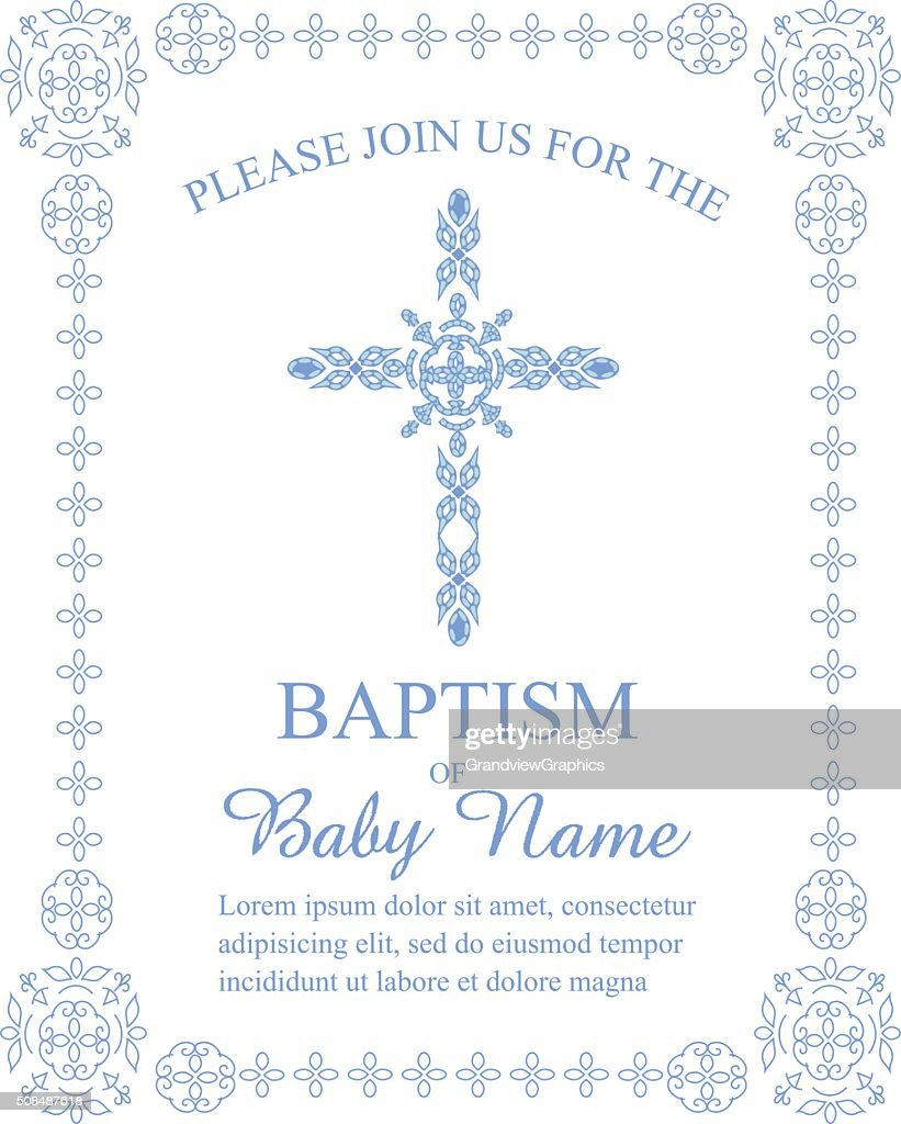 Baptism Invitation Template With Ornate Cross And Border Vector Art