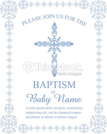Baptism invitation template with ornate cross and border vector baptism invitation template with ornate cross and border vector art stopboris Gallery