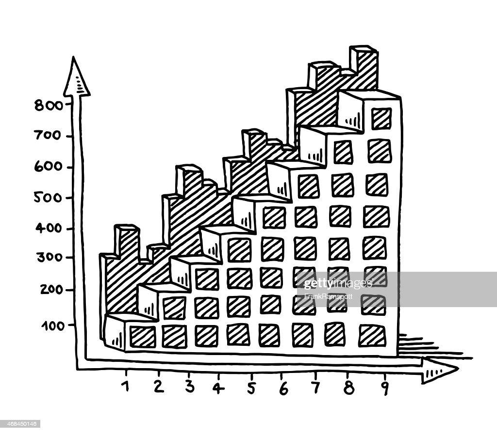 bar chart business diagram upwards drawing vector art