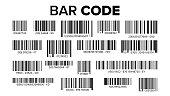 Bar Code Set Vector. UPC Bar Codes. Universal Product Code. Market Trademark. Isolated Illustration