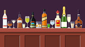 Bar Counter With Alcohol Drink. Bottle Collection. Bottles with glasses. Vector illustration in flat style
