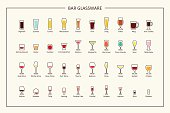 Bar glassware guide, colored icons. Horizontal orientation. Vector illustration