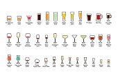 Bar glassware with titles, color icons set, vector illustration.